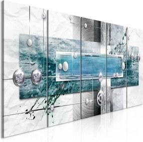 Schilderij - Mysterieuze mechanisme, blauw, 5luik