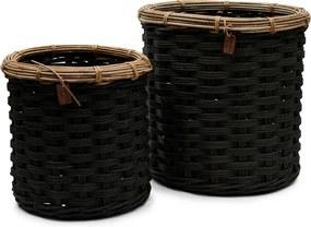 Rivièra Maison - Rustic Rattan Classic RM 48 Basket Set of 2 pieces - Kleur: zwart
