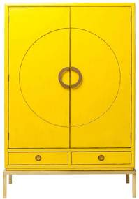 Kare Design Disk Wandkast Geel Met Goud - 120x55x180cm.