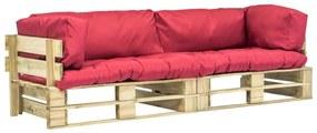 Medina 2-delige Loungeset pallet met rode kussens grenenhout