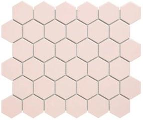 The Mosaic Factory Barcelona mozaïektegel 5.1x5.9x0.6cm wandtegel voor binnen en buiten hexagon porselein glans roze AFH13072