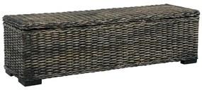 Medina Opbergbox 120 cm kubu rattan en massief mangohout zwart