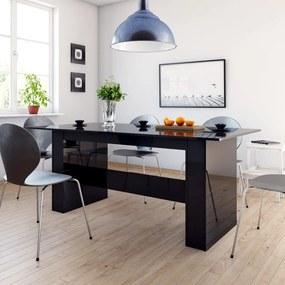 Eettafel 180x90x76 cm spaanplaat hoogglans zwart