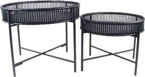 The Red Cartel | Bijzettafel Batanga tafel 1: diameter 49 cm x hoogte 39,5 cmtafel zwart bijzettafels rotan en metaal meubels | NADUVI outlet