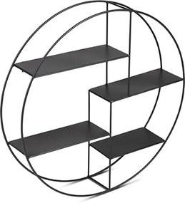 Wandrek rond industrieel metaal 4 planken zwart metalen rek