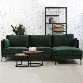 Dimehouse | Hoekbank Peppin 3-zits velvet zithoogte 46 cmzitdiepte 59 cmhoogte 85 cmdikte groen zitbanken velvet banken | NADUVI outlet