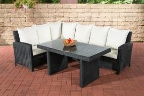 Wicker Poly rotan lounge dining set BERMEO hoekbank + eettafel 140 x 80 cm 6 plaatsen - kleur van 5 mm rotan zwart overtrek gebroken wit