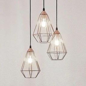 Hanglamp Elda met kooien, gebundeld, koper