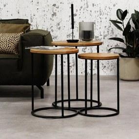 Dimehouse   Bijzettafel Gwen lengte 55 cm x breedte 55 cm x hoogte 60 cm bruin, zwart bijzettafels mangohout, metaal meubels   NADUVI outlet