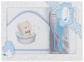 Baby Nora Badhanddoek 100 X 100 Cm Katoen  3-Delig - badhanddoek 100 x 100 cm katoen wit/blauw 3-delig (918754)