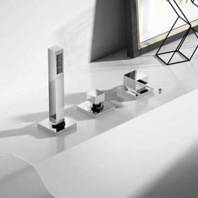 Badkraan Hotbath Bloke Inbouw Thermostatisch Vierkant Glans Chroom 2 Greeps met Handdouche