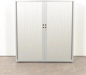 Roldeurkast, aluminium, 130 x 120 cm, incl. 2 legborden