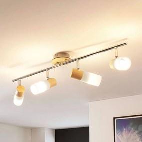 LED spot Christoph met hout en vier lampen - lampen-24