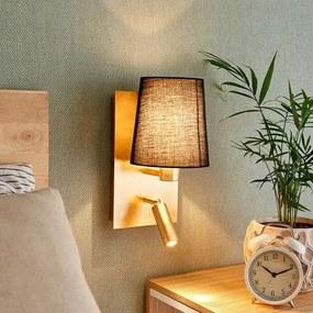 Wandlamp Aiden met LED leeslamp, zwart, goud - lampen-24