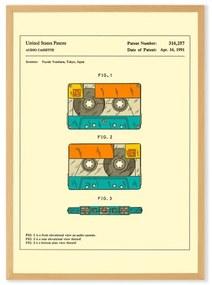 Retro Patent Cassette door Jazzberry Blue, ingelijste print, A3, meerkleurig