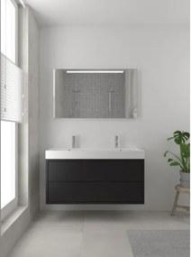 Bruynzeel Box badmeubelset 120x45cm 2 kraangaten 2 wasbakken 2 lades met spiegel met softclose composite zijde zwart 123102075
