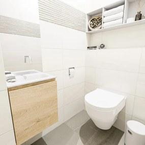 MONDIAZ OLAN Toiletmeubel 40x30x40cm met 0 kraangaten 1 lades washed oak mat Wastafel Lex rechts Solid Surface Wit FK75342670