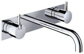 Hotbath Cobber inbouw wastafelmengkraan 3 gats met achterplaat met 25 cm uitloop geborsteld koper PVD HBCB005T/CB006TEXT25BCP