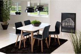 Eethoek Ulfborg Skagen (tafel met 4 stoelen) - wit/donkergrijs - Leen Bakker