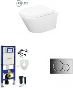 Vesta toiletset Rimless - met standaard zitting - met Geberit UP320 reservoir/bedieningsplaat glans-chroom