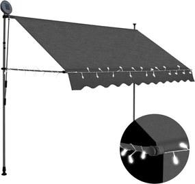 Luifel handmatig uittrekbaar met LED 300 cm antraciet