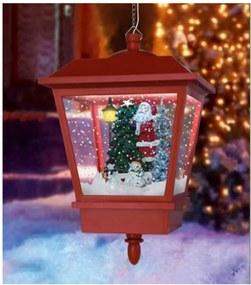 Hanglamp met sneeuweffect kerstrood kerstman