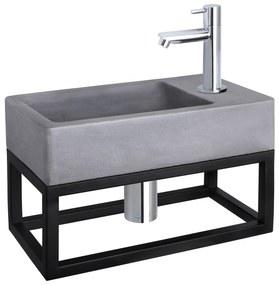 Force fonteinset met zwart frame - kraan recht - beton - chroom