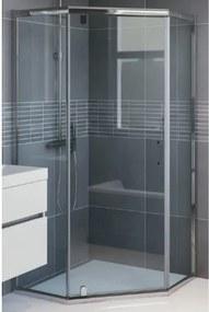 Bruynzeel Cilo douchecabine vijfhoek 100x100x195cm zilver glans profiel helder glas 280354
