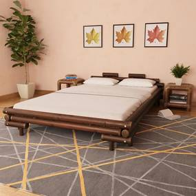 Bedframe bamboe donkerbruin 140x200 cm