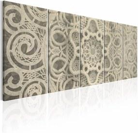 Schilderij - Kanten Mandala , wit beige , 5 luik