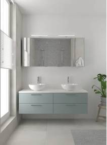 Bruynzeel Combo badmeubelset 150x45cm 2 wasbakken 4 lades met spiegelkast met softclose ceramic fjord groen 123102668