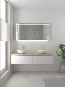 Bruynzeel Giro badmeubelset 49x150x46cm 2 wasbakken 2 lades met spiegel met softclose composite mat wit 123102529