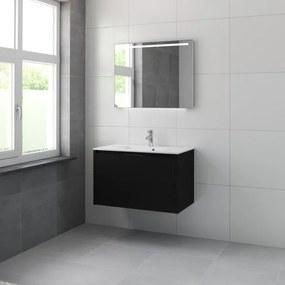 Bruynzeel Matera badmeubelset 90x56.5x50cm met spiegel zijde zwart 226232k