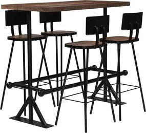 5-delige Barset massief gerecycled hout