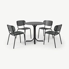 Emu tuintafel met 4 stoelen van gepoedercoat staal, grijs