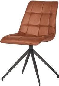Trend Living   Eetkamerstoel Dave breedte 48 cm x hoogte 89 cm x diepte 60 cm cognacbruin eetkamerstoelen microfiber stoelen   NADUVI outlet