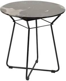 Kaja Collection   Tafel Messi ø 52 cm x hoogte 50 cm x dikte blad 1 cm zwart bijzettafels metaal, marmer meubels tafels   NADUVI outlet