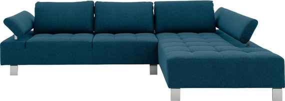 Leren Bank Chaise Longue.Blauwe Leren Hoekbanken Biano